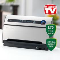 FoodSaver Bundle - As Seen On TV - Vacuum Sealing System + Marinator + x4 Rolls + x96 Bags