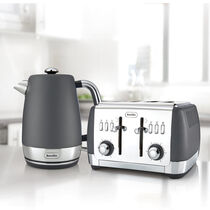 Strata Collection Jug Kettle and Toaster Set, Grey
