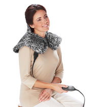 Sunbeam® Posh Renue® Tension Relief Wrap, Faux Fur Grey Fox