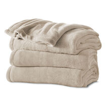 Sunbeam® King Channeled Microplush Heated Blanket, Sand