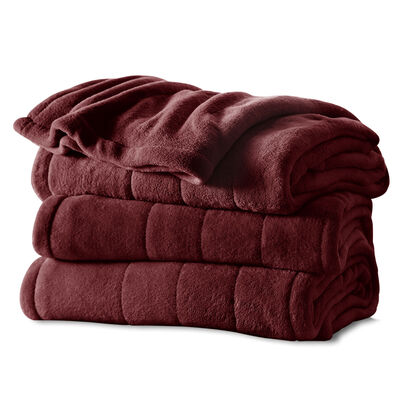Sunbeam® Full Channeled Microplush Heated Blanket, Garnet