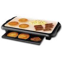 """Oster® Titanium Infused DuraCeramic™ 10"""" x 18-1/2"""" Griddle w/ Warming Tray"""