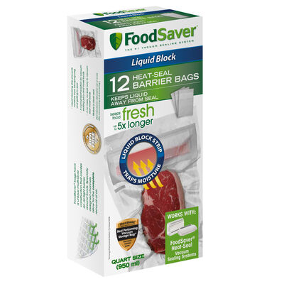 FoodSaver® Liquid Block Heat-Seal Quart Bags, 12 Count