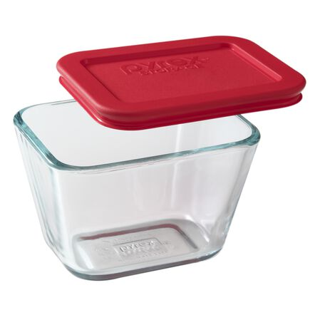 Simply Store® 1.875 Cup Rectangular Dish w/ Red Lid
