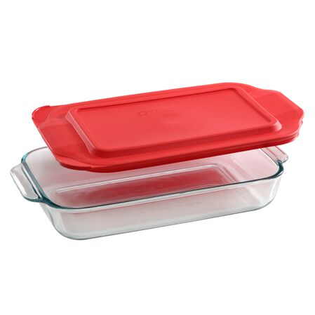 2-qt Oblong w/ Red Lid