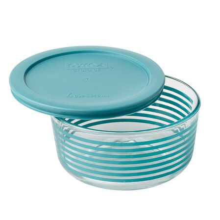 Storage Plus® 4 Cup Turquoise Lane Storage Dish w/ Turquoise Lid