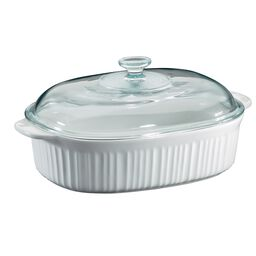 French White® 4-qt Oval Casserole w/ Glass Lid