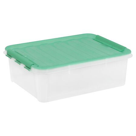 "Smart Store® 18"" x 6"" Home Storage Container w/ Kelly Green Handles"