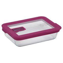 Refractario rectangular  3tz/709mL con tapa plástica color rosa.