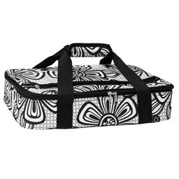 Black & White Modern Flowers Rectangle Casserole Portable / Tote Bag