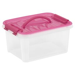 """Smart Store® 12"""" x 6"""" Home Storage Container w/ Pink Handles"""
