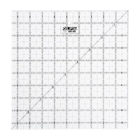 """9-1/2"""" Square Frosted Acrylic Ruler (QR-9S)"""