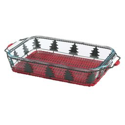 3-qt Baking Dish w/ Red Christmas Tree Basket