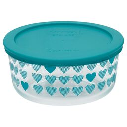 Simply Store® 4 Cup Turquoise Hearts Storage Bowl w/ Lid
