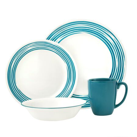 Boutique™ Brushed 16-pc Dinnerware Set, Turquoise