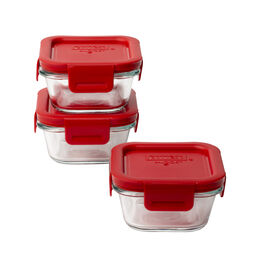 4-lock™ Square Storage 6-pc Set w/ Red Lids