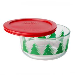 Storage Plus® 4 Cup (2015) Christmas Trees Holiday Dish w/ Red Lid