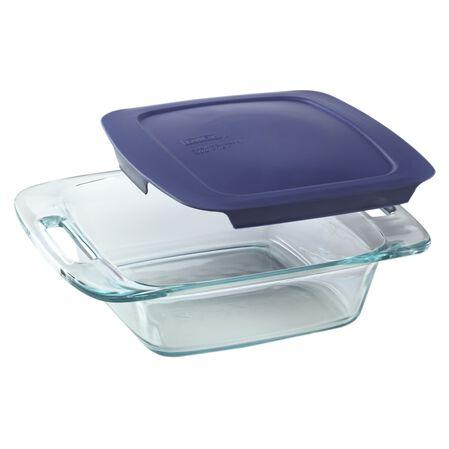 "Easy Grab® 8"" Square Baking Dish w/Blue Lid"