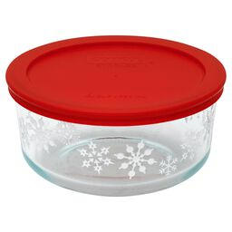 Storage Plus® 4 Cup (2016) White Snowflake Dish w/ Red Lid