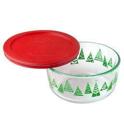 Simply Store® 4 Cup Green Christmas Tree (2016) Holiday Dish w/ Red Lid