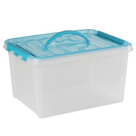 "Smart Store® 16"" x 9"" Home Storage Container Turquoise Handles"