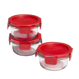 4-lock™ Round Storage 6-pc Set w/ Red Lids
