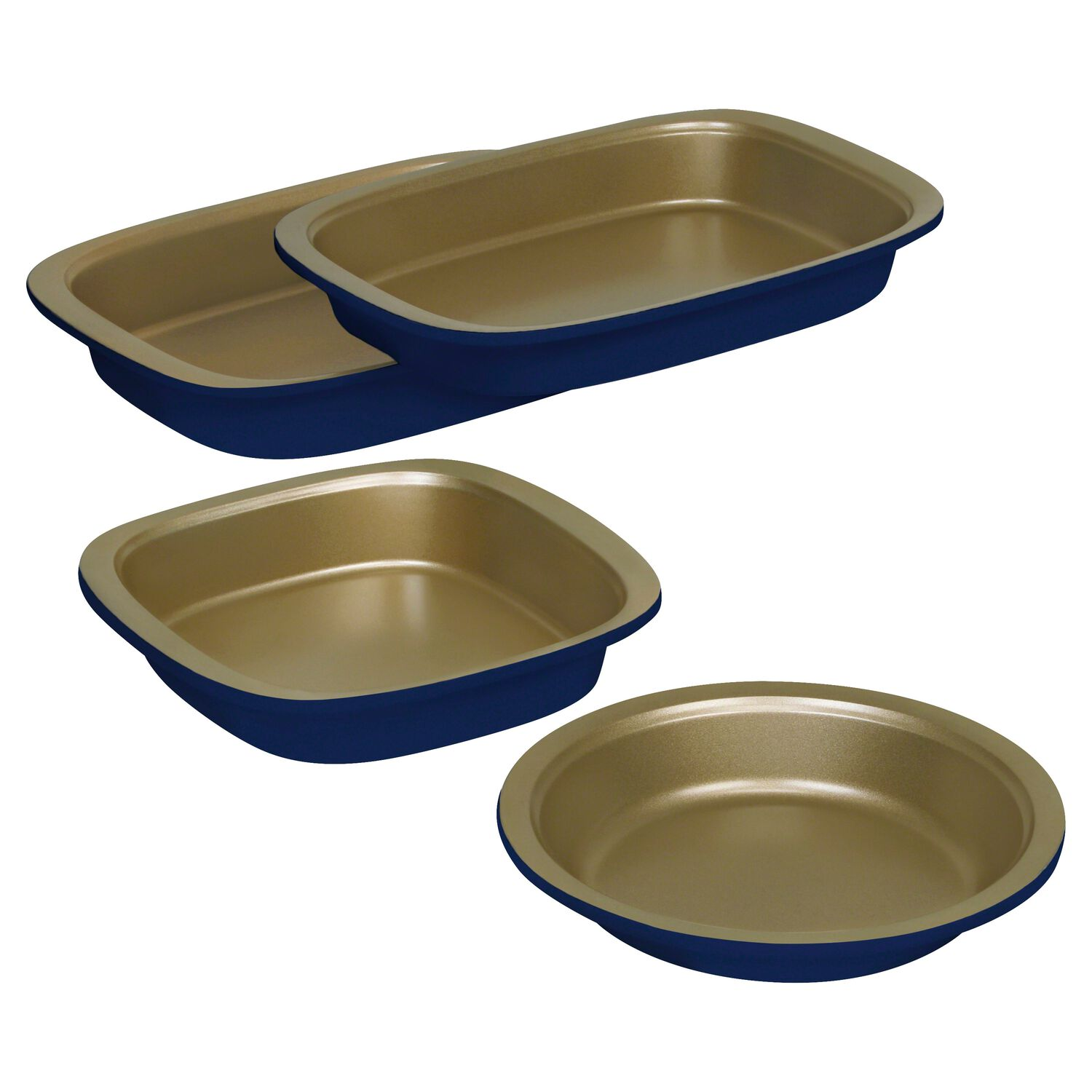 Baker's Secret 3-Pc Bake & Serve Blue And Gold 4-Pc Set