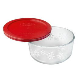Storage Plus® 4 Cup (2016) White Snowflake Holiday Dish w/ Red Lid