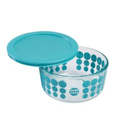 4 Cup 100th Anniversary Turquoise Dot Storage Dish