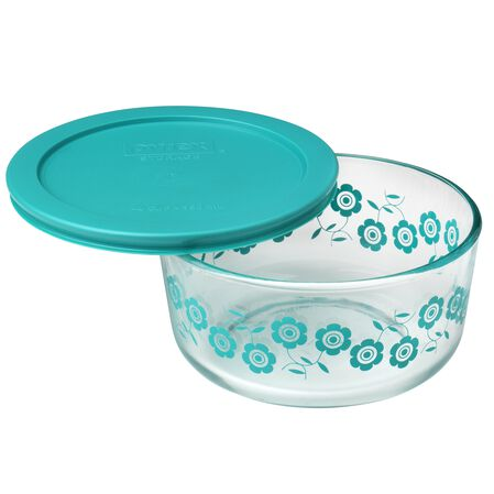 Simply Store® 4 Cup Flowers Storage Dish W/ Turquoise Lid