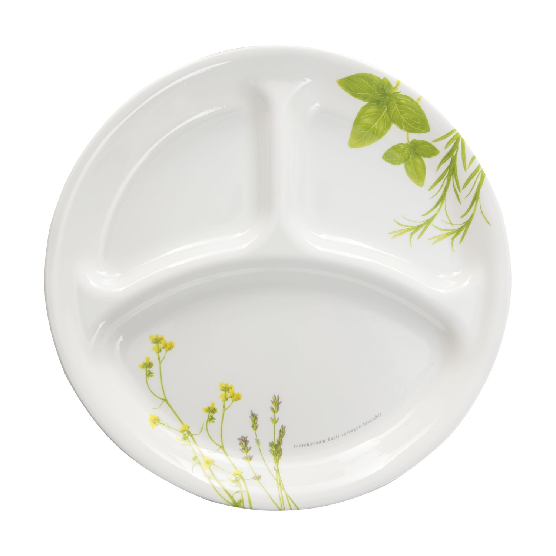 corelle livingware european herbs divided plate corelle. Black Bedroom Furniture Sets. Home Design Ideas