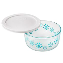 Storage Plus® 4 Cup Blue Snowflake Holiday Blue Dish w/ White Lid