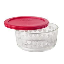 Simply Store® 4 Cup White Hearts Storage Dish / Red Lid