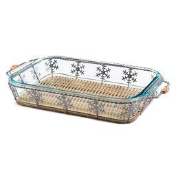 3 Quart Snowflake Basket Set - Seasonal Dish with Basket