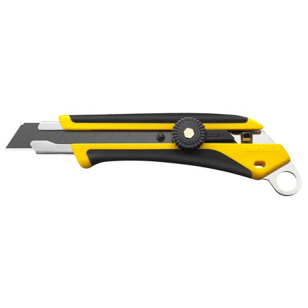 Fiberglass-reinforced ratchet-lock utility knife with lanyard hole (L-6)