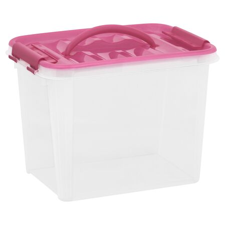 "Smart Store® 12"" x 9"" Home Storage Container w/ Pink Handles"
