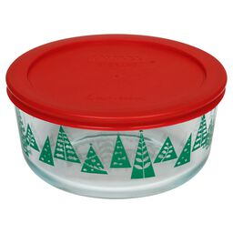Storage Plus® 4 Cup (2016) Green Christmas Trees Dish w/ Red Lid