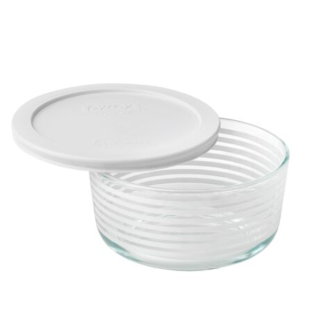 Storage Plus® 4 Cup White Lane Storage Dish w/ White Lid