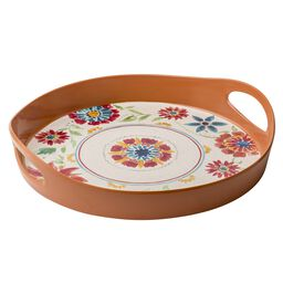 "Southwest Floral Melamine 13"" Round Serving Tray w/ Handles"