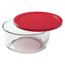 Simply Store® 7 Cup Round Dish w/ Red Lid