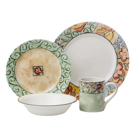 impressions watercolors 16 pc dinnerware set corelle