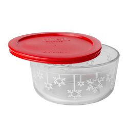 Storage Plus® 4 Cup Snowflake Holiday Dish w/ Red Lid