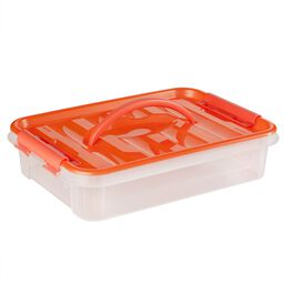 "Smart Store® 14"" x 3"" Home Storage Container w/ Orange Handles"