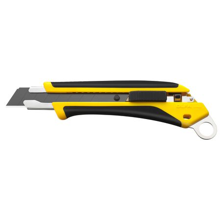 Fiberglass-reinforced auto-lock utility knife with lanyard hole (L6-AL)