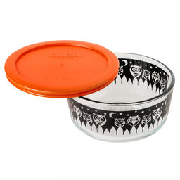 Simply Store® 4 Cup Black Owl Storage Dish w/ Orange Lid