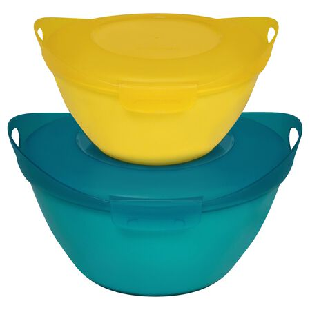 Entertain-a-Bowl 4-pc Large Value Pack, Yellow & Turquoise