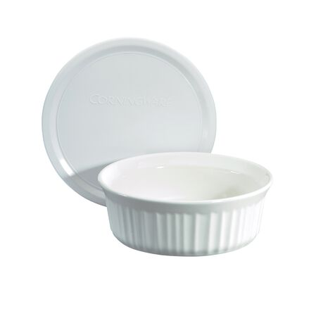 French White® 24-oz Round Baking Dish w/ Lid