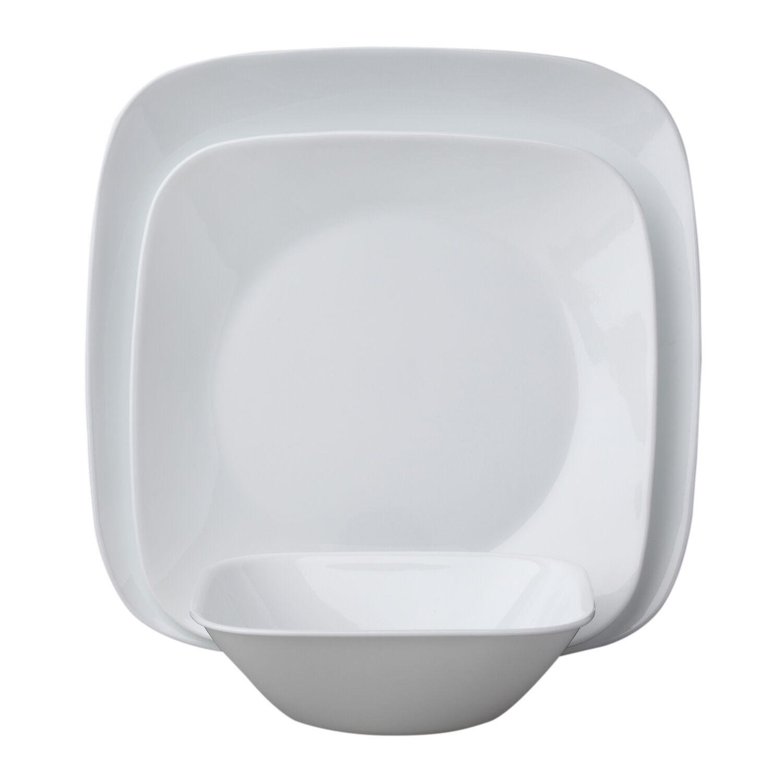 Square Pure White 18 Pc Dinnerware Set Corelle 174