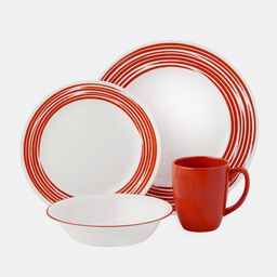 Boutique™ Brushed 16-pc Dinnerware Set, Red