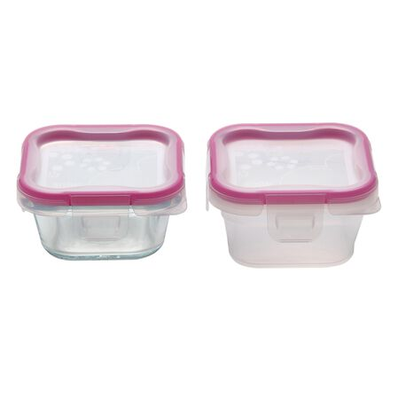 Total Solution™ Pyrex® Glass & Plastic Food Storage 4-pc Square Set